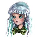 Jelly Fish Ocean Princess Watercolor Painting by fugitiverabbit