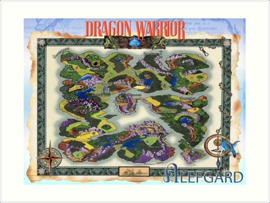 Dragon Warrior Dragon Quest Map Fully Restored Poster Art Prints