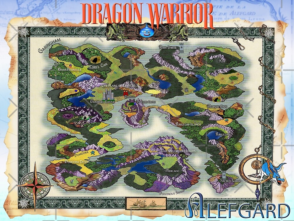 Dragon Warrior (Dragon Quest) Map, Fully Restored Poster