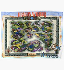 Dragon Warrior (Dragon Quest) Map, Fully Restored Poster Poster