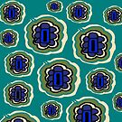 Teal, olive, cream and blue floral pattern by HEVIFineart