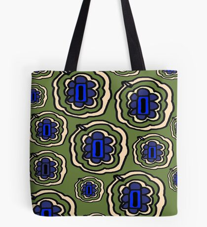 Olive green yellow and blue floral pattern Tote Bag