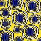 Lemon yellow and blue floral pattern by HEVIFineart
