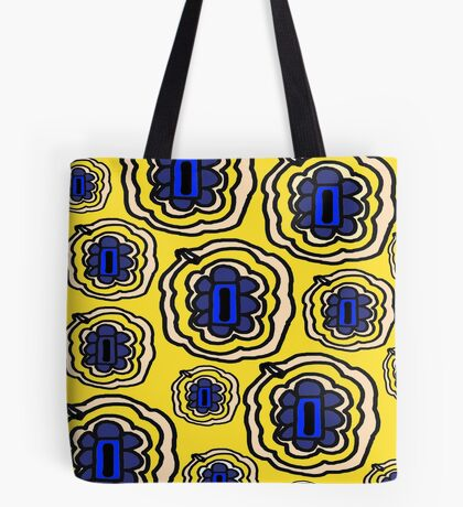 Lemon yellow and blue floral pattern Tote Bag