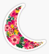 Floral Print Crescent Moon Sticker