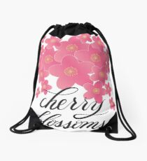 Handlettered Calligraphy Cherry Blossoms with Flowers Drawstring Bag