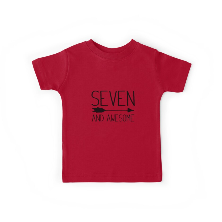 Seven And Awesome 7th Birthday Gift T Shirt Light