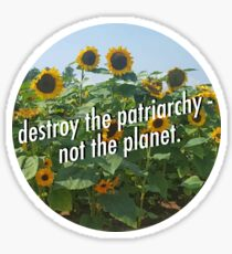 Destroy the Patriarchy, Not the Planet! Sticker