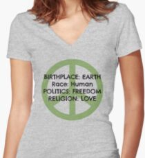 Birthplace: Earth Women's Fitted V-Neck T-Shirt