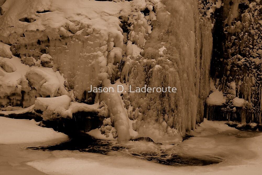 Falling Frozen B&W by Jason D. Laderoute