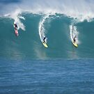 Waimea Bay Three Surfers by kevin smith  skystudiohawaii