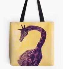 Peaceful protector -  Purple Giraffe in a Yellow Field Tote Bag