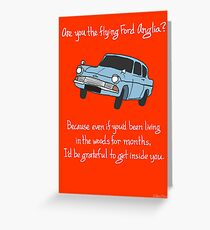 Flying Ford Anglia Greeting Card
