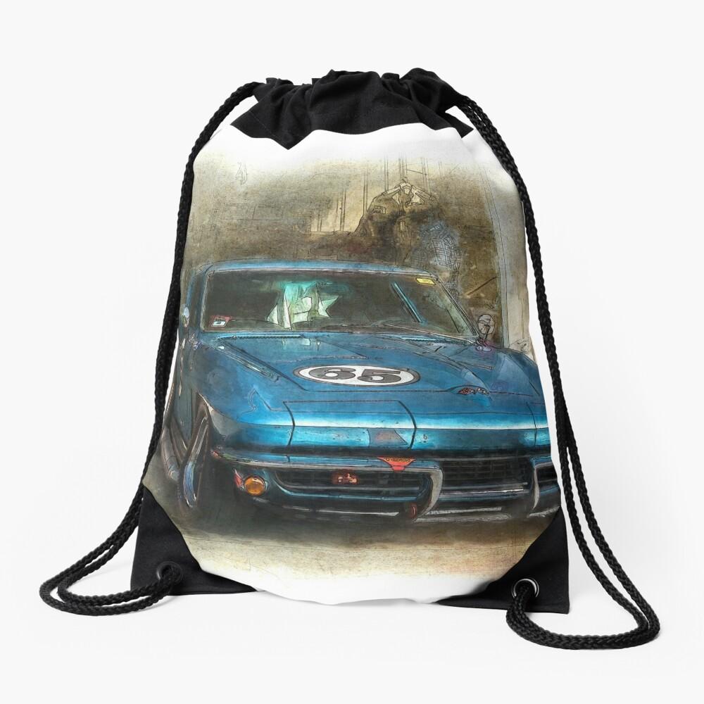 Blue Corvette Drawstring Bag