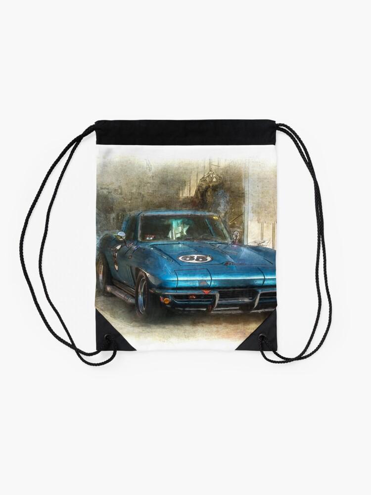 Alternate view of Blue Corvette Drawstring Bag