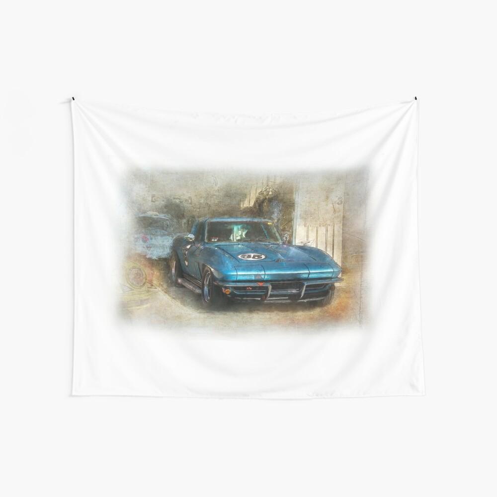 Blue Corvette Wall Tapestry