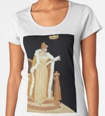 Lady in yellow cape coming down stairs 106 Women's Premium T-Shirt
