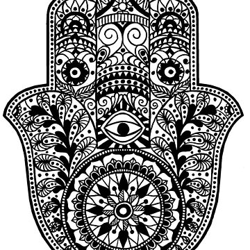 Hamsa Hand of Fatima | Black and white | Globetrotter by koovox