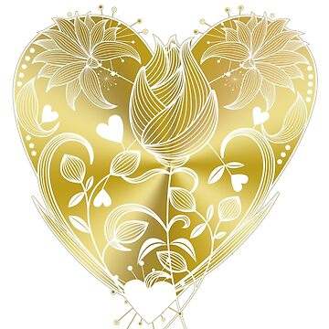 White Inked Floral Gold Heart by naturespaintbox