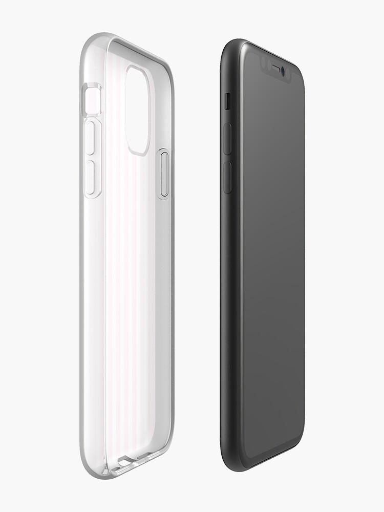 Coque iPhone «Rayure verticale rose et blanche», par VassalloDesigns
