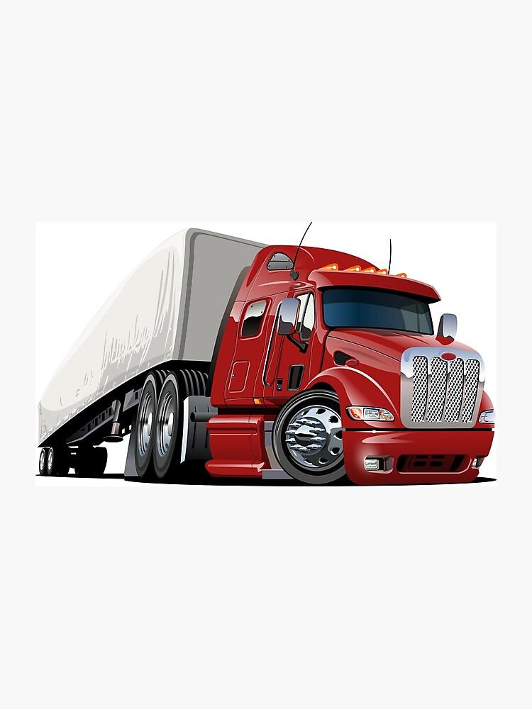 Camioneta De Dibujos Animados Semi Lámina Fotográfica