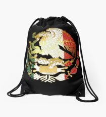 Golden Mexican Coat Of Arms Drawstring Bag