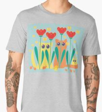 Rabble Of Butterflies In Tulip Garden Men's Premium T-Shirt
