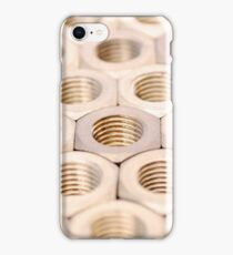 Industrial Hexagonal Threaded Nuts White Gold Metal iPhone Case/Skin