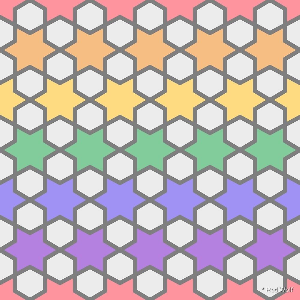 Geometric Pattern: Star Hexagon: Rainbow Light by * Red Wolf
