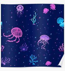 Bubble Jellyfish sea Poster