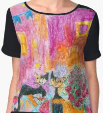Two Abstract Cats Women's Chiffon Top