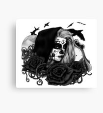 Day Of The Dead (Black and White) Canvas Print