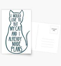 Postales Me encantaría, pero mi gato y yo ya hicimos planes # 2