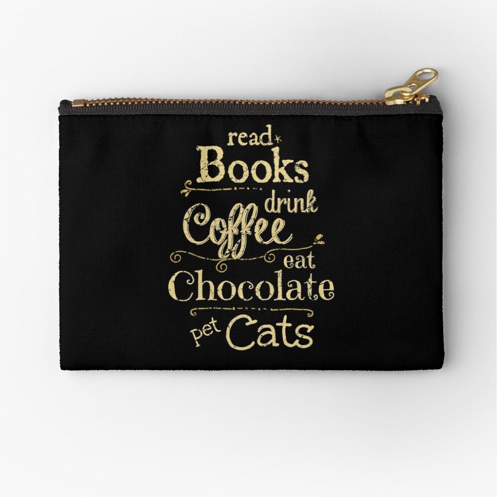 Bücher lesen, Kaffee trinken, Schokolade essen, Katzen streicheln Täschchen