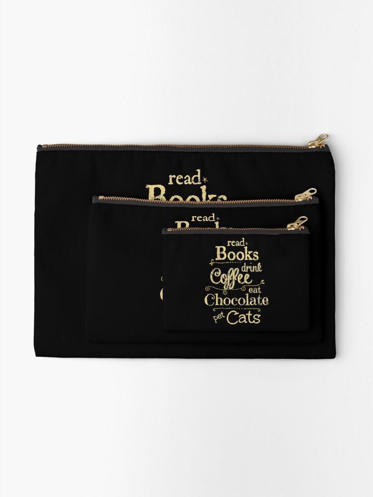Alternative Ansicht von Bücher lesen, Kaffee trinken, Schokolade essen, Katzen streicheln Täschchen