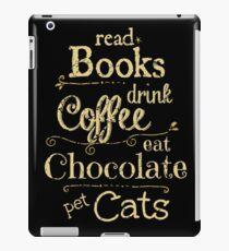 Vinilo o funda para iPad leer libros, tomar café, comer chocolate, gatos domésticos