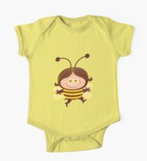 Cute girl wearing a Halloween bee costume One Piece - Short Sleeve