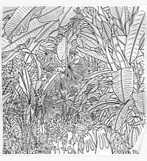 London Palm House & Bunnies - Black & White Poster