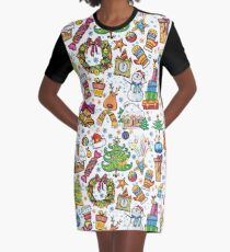 Icons of Christmas Graphic T-Shirt Dress