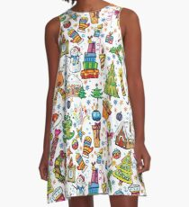 Icons of Christmas A-Line Dress