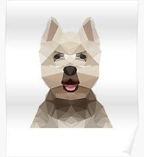 Netter weißer Westie Hund (niedriger Polyentwurf) Poster