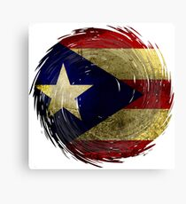 Puerto Rican Flag inside Hurricane Maria Grunge Graphic Design, Puerto Rico Canvas Print