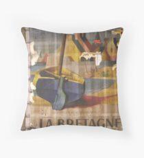 Abandoned old poster in Paris Metró - La Bretagne Throw Pillow