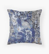 Old Blue Mural in India  Throw Pillow