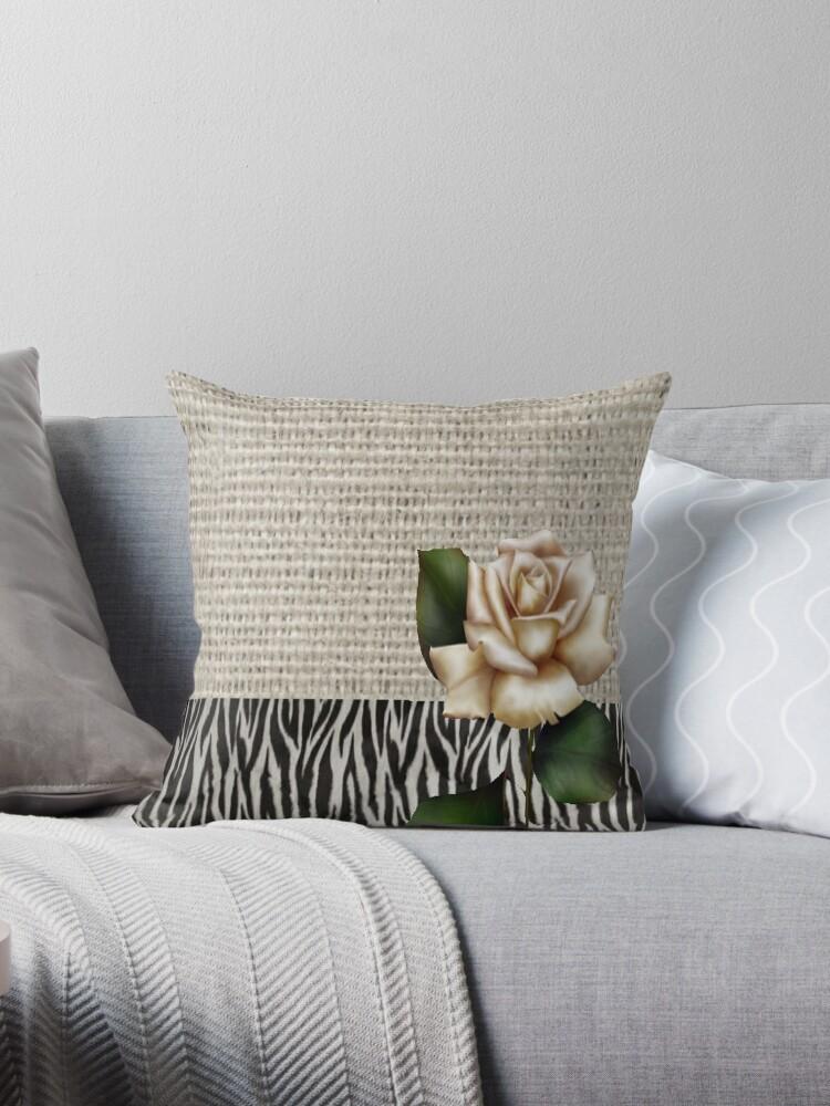 Chic Zebra print rustic burlap botanical floral white rose  by lfang77
