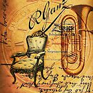 Retro scripts musical instrument Saxophone Jazz  by lfang77