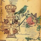 jubilee vintage cross distressed parchment french bird botanical  by lfang77