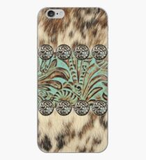 Rustic brown cowhide teal western country tooled leather  iPhone Case