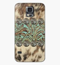 Rustic brown cowhide teal western country tooled leather  Case/Skin for Samsung Galaxy