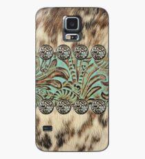 Rustikales braunes rindsleder-westliches Land des Kuhrindleders Hülle & Skin für Samsung Galaxy
